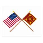 Crossed US and Pulaski Flags Postcard