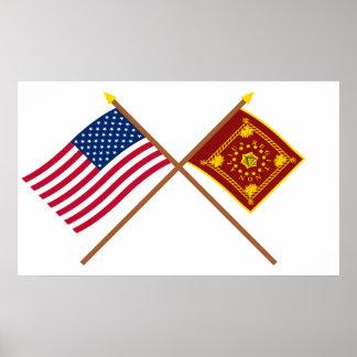 Crossed US and Pulaski Flags Print