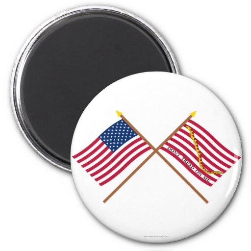 Crossed US and Rattlesnake Flags 2 Inch Round Magnet