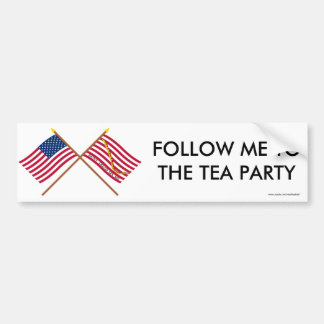 Crossed US and Rattlesnake Flags Bumper Sticker