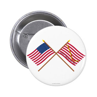 Crossed US and Rattlesnake Flags Pinback Buttons