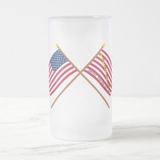 Crossed US and Rattlesnake Flags 16 Oz Frosted Glass Beer Mug