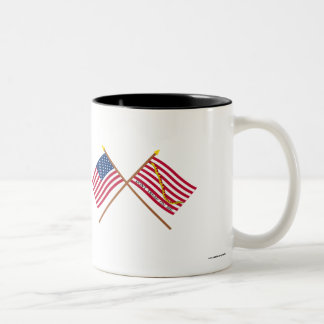 Crossed US and Rattlesnake Flags Two-Tone Coffee Mug