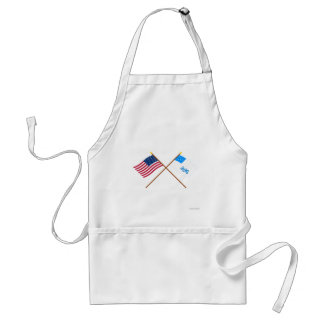 Crossed US and Rhode Island 1st Regiment Flags Adult Apron