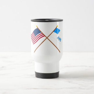 Crossed US and Rhode Island 1st Regiment Flags Coffee Mugs
