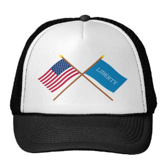 Crossed US and Schenectady Liberty Flags Mesh Hat