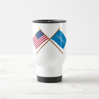 Crossed US and Schenectady Liberty Flags Coffee Mug