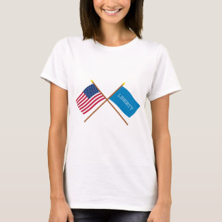Crossed US and Schenectady Liberty Flags T-Shirt