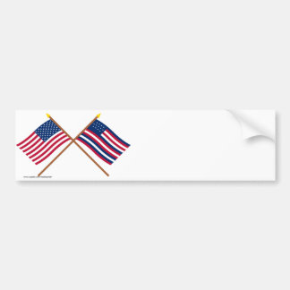 Crossed US and Serapis Flags Bumper Stickers