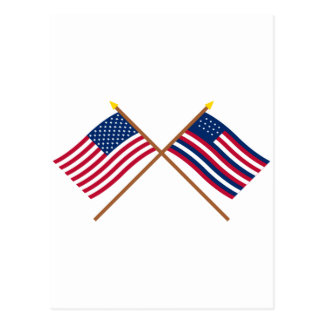 Crossed US and Serapis Flags Postcard