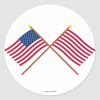 Crossed US and Sons of Liberty Flags Classic Round Sticker