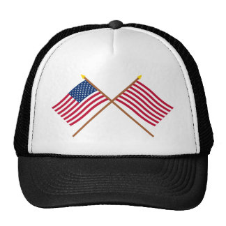 Crossed US and Sons of Liberty Flags Trucker Hat