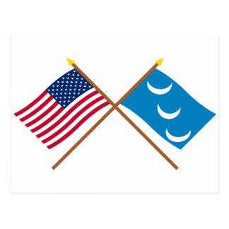Crossed US and South Carolina Militia Flags Postcard