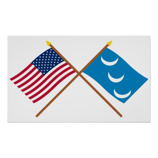 Crossed US and South Carolina Militia Flags Poster