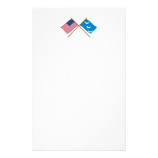 Crossed US and South Carolina Militia Flags Stationery Design
