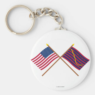 Crossed US and South Carolina Navy Flags Keychain
