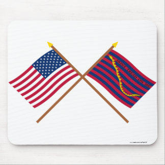 Crossed US and South Carolina Navy Flags Mouse Pad