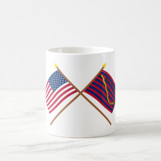 Crossed US and South Carolina Navy Flags Coffee Mugs
