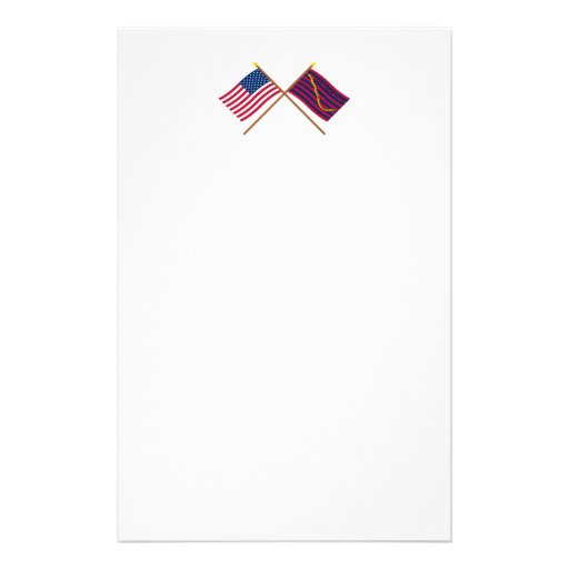 Crossed US and South Carolina Navy Flags Personalized Stationery
