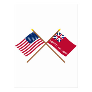 Crossed US and Taunton Flags Postcard