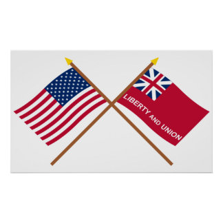 Crossed US and Taunton Flags Poster