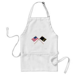 Crossed US and Veterans Exempt Flags Adult Apron