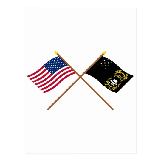 Crossed US and Veterans Exempt Flags Postcard