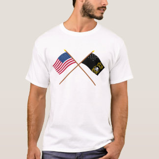 Crossed US and Veterans Exempt Flags T-Shirt