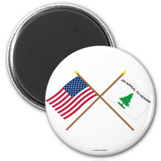 Crossed US and Washington's Cruisers Flags 2 Inch Round Magnet