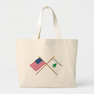Crossed US and Washington's Cruisers Flags Canvas Bags
