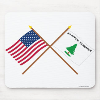Crossed US and Washington's Cruisers Flags Mouse Pad
