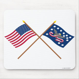 Crossed US and Whiskey Rebellion Flags Mousepad