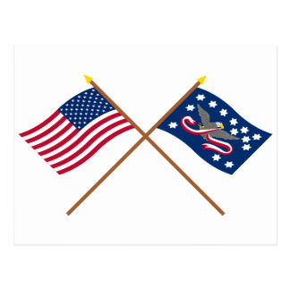 Crossed US and Whiskey Rebellion Flags Postcard