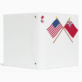 Crossed US Flag and  Pine Tree Red Ensign Vinyl Binders