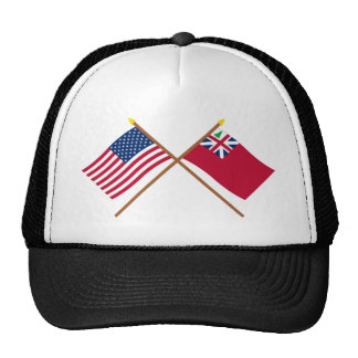 Crossed US Flag and  Pine Tree Red Ensign Trucker Hats