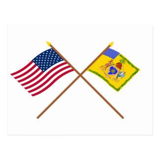 Crossed US Flag & Philadelphia Light Horse Colour Post Cards