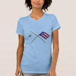 Crossed US Virgin Islands & Puerto Rico Flags Tshirts