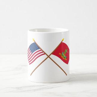 Crossed USA and Hanover Associators Flags Coffee Mugs