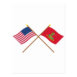 Crossed USA and Hanover Associators Flags Postcard