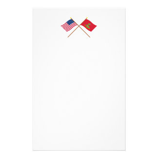 Crossed USA and Hanover Associators Flags Stationery Paper