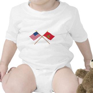 Crossed USA and Hanover Associators Flags Tee Shirt
