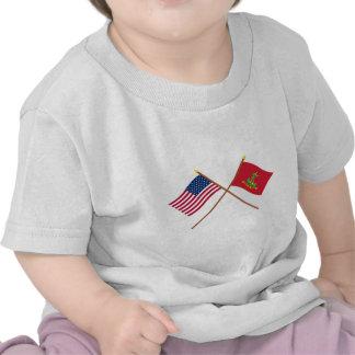 Crossed USA and Hanover Associators Flags Tees