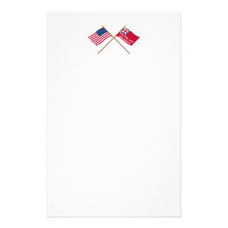 Crossed USA and New York Liberty Flags Stationery