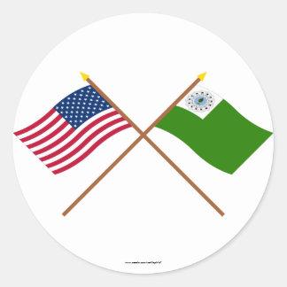 Crossed USA and Newburyport Flags Sticker