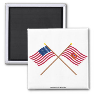 Crossed USA and Sheldon's Horse Flags 2 Inch Square Magnet