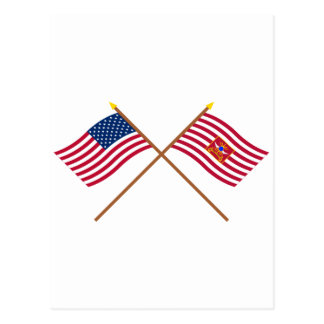 Crossed USA and Sheldon's Horse Flags Postcards