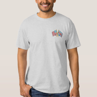Crossed Usa and Uk Flags Embroidered T-Shirt