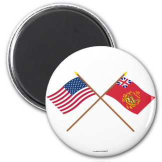 Crossed USA & Proctor's Batallion Flags 2 Inch Round Magnet