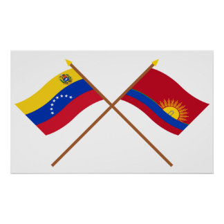 Crossed Venezuela and Carabobo Flags Poster