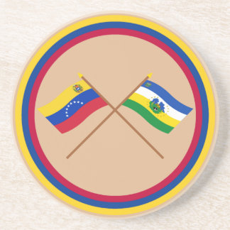 Crossed Venezuela and Guárico Flags Sandstone Coaster